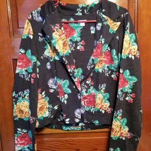 Cropped Black floral blazer